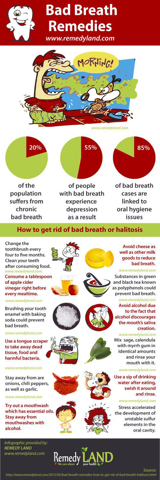 Bad breath remedies infographic